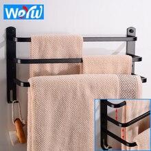 Towel Bar Holder Black Towel Hanger Rack with Hooks Aluminum Three Layer Towel Rack Wall mounted Bathroom Shelf Corner Shower цена и фото