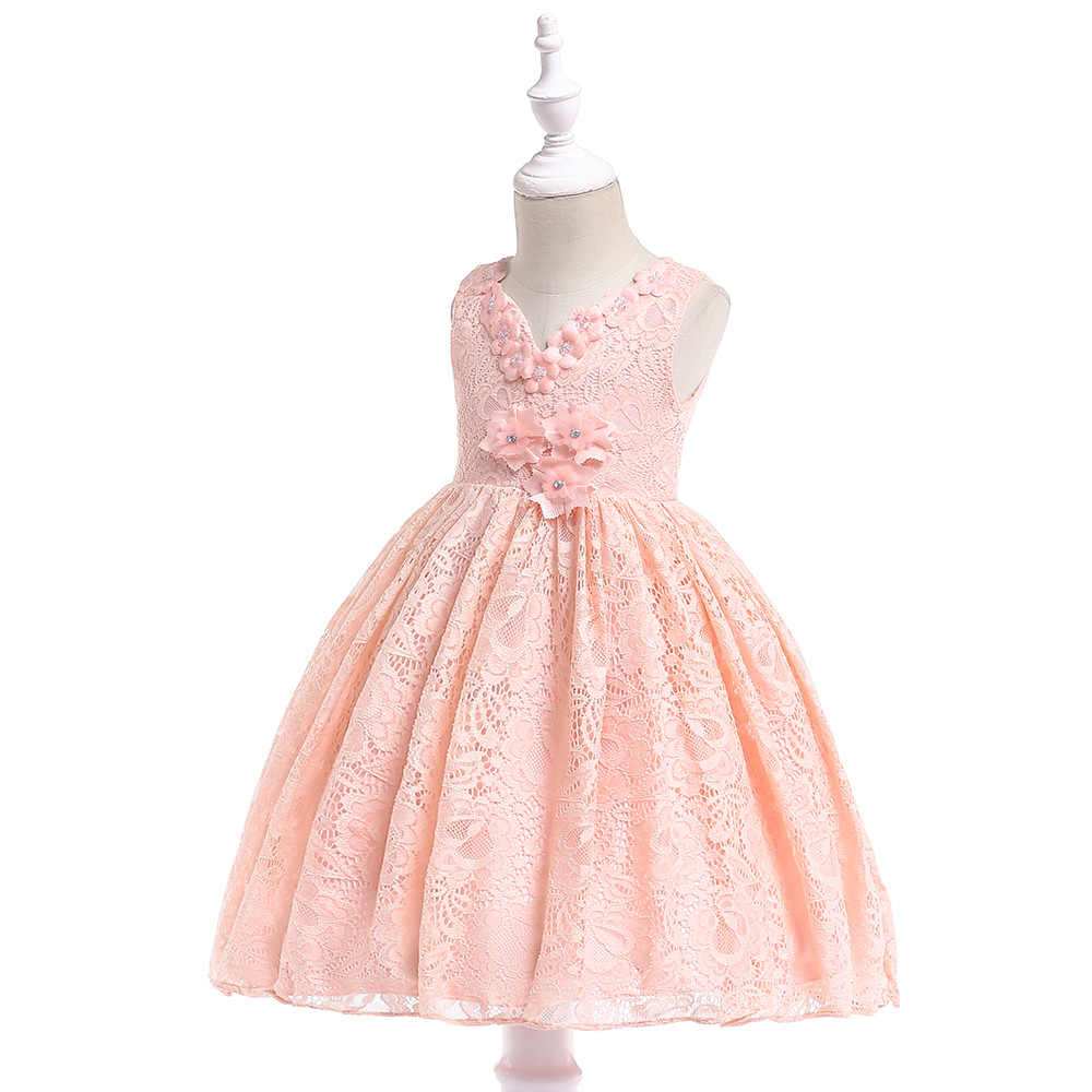 Pink   Flower     Girl     Dresses   For Wedding Hand Made   Flower   Jewel Neck Knee Length Little   Girl   Pageant   Dress