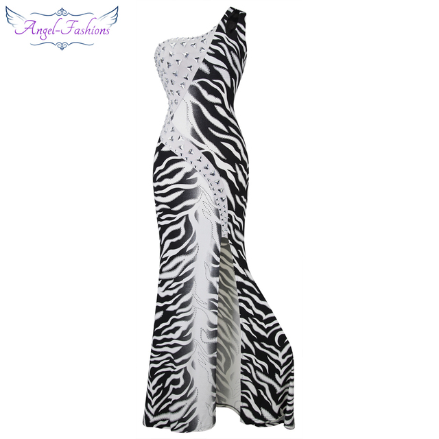 Angel-fashions One Shoulder Zebra Gradient Beading Slit Formal Long Evening Dress 036