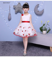 KICCOLY Flower Girl Dress 2018 Summer Sleeveless Kid Dresses Cherry Butterfly Princess 2 12T Party Princess Ball Gown Vestidos