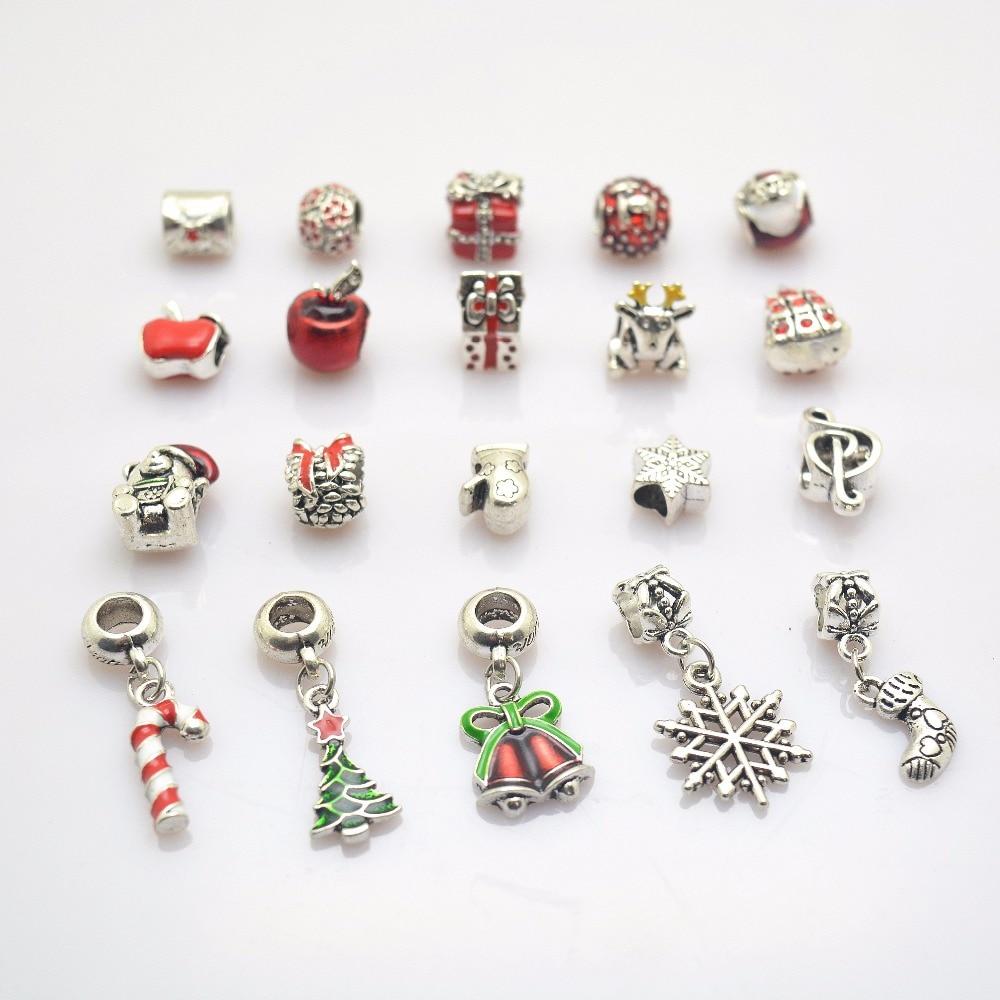 20pcs Christmas series European beads Fit Pandora Charms Bracelet Spacer Charm Beads Jewelry Making DIY js1400