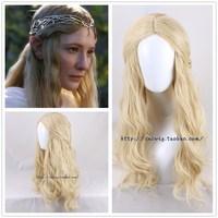 The Hobbit Elf Queen Galadriel cosplay wig women role play long blonde wavy hair Cate Blanchett fancy wig costumes