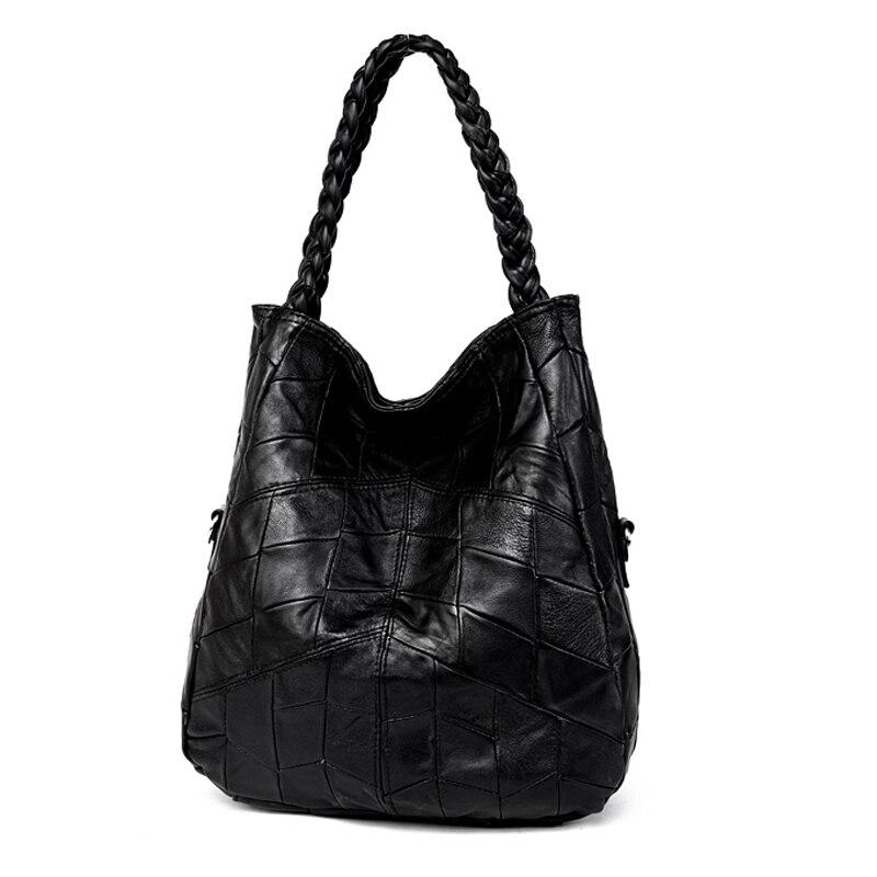 Véritable cuir femmes sacs fait à la main tissage en peau de mouton sac à main capacité patchwork sac épaule embrayage femme bolsa sac à main