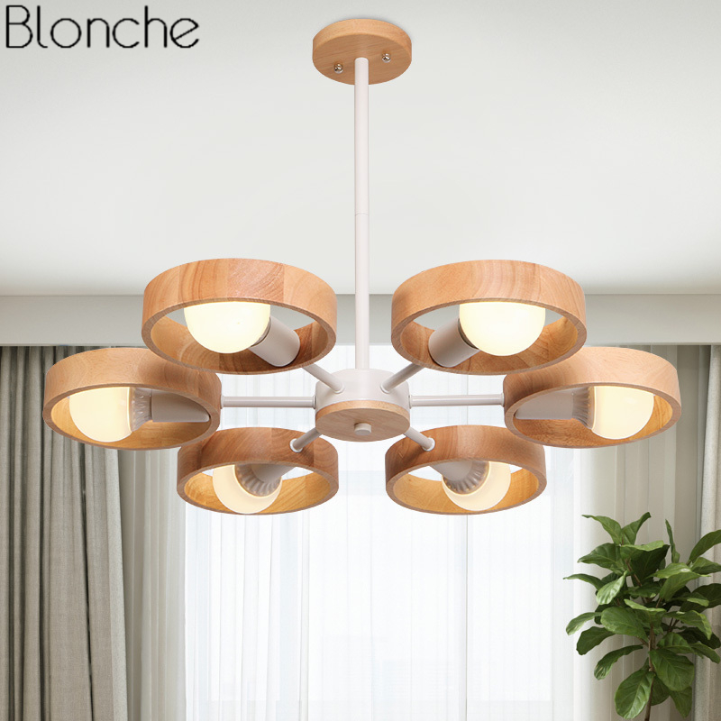 Nordic Modern Round Ring Pendant Lights Japanese Wood Lamp Led Hanging Light Fixtures Dining Room Bedroom Home Decor Luminaire