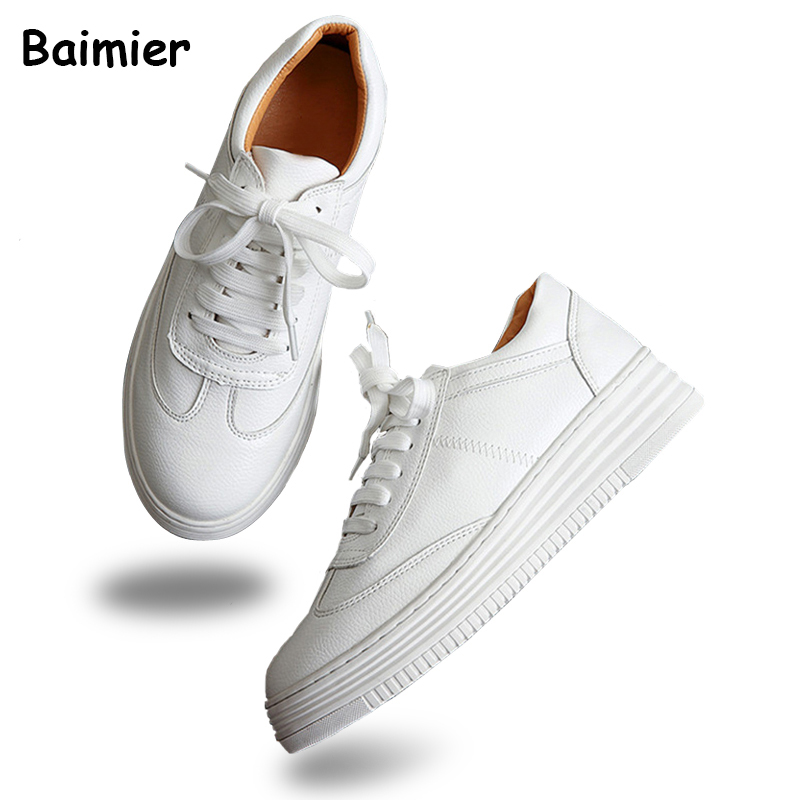 2017 Women White Shoes Autumn Spring Soft Comfortable Casual Shoes Flats Platform Sneakers Real Leather Shoes