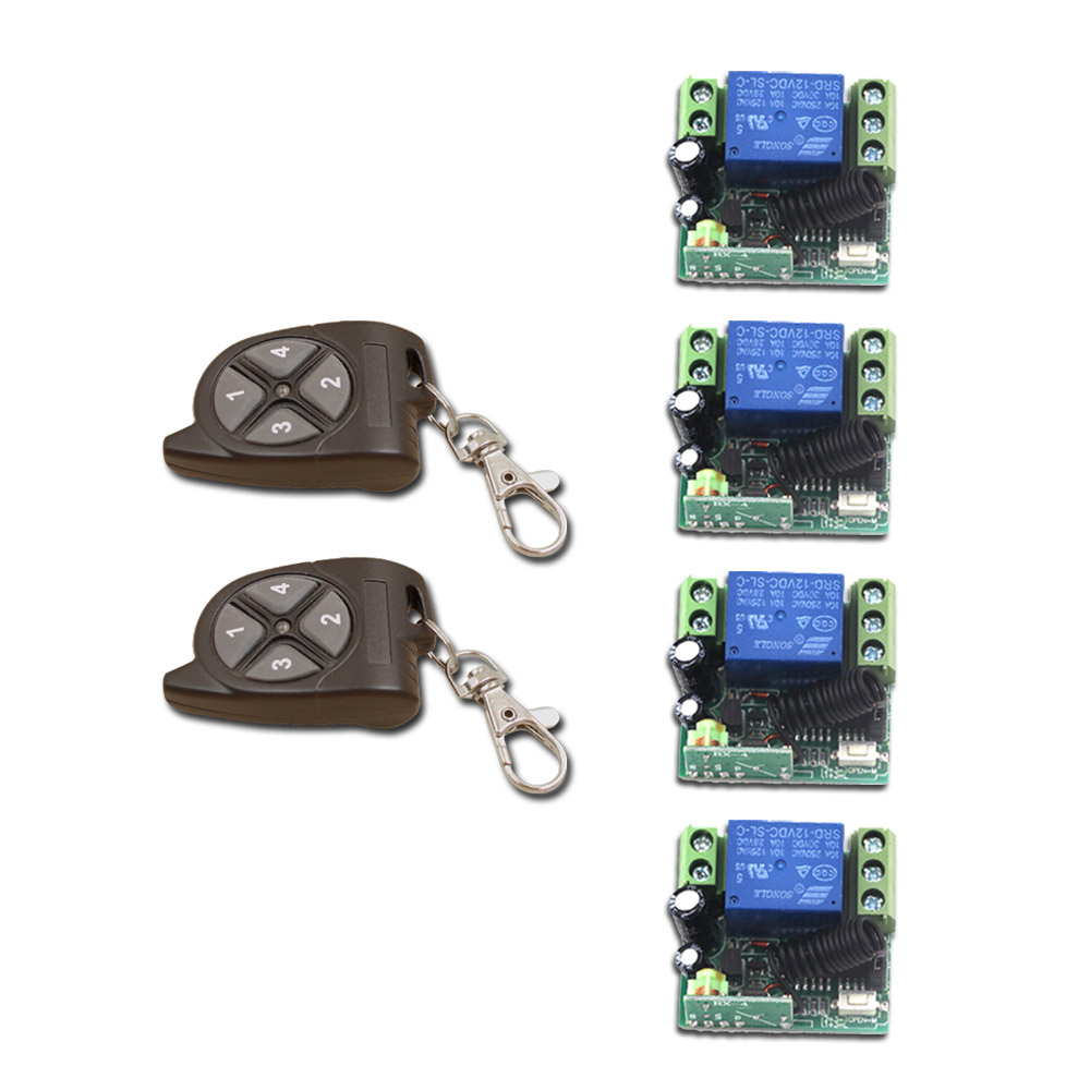 Hot Sales Top Quality(6Pcs/Set) RF Mini Wireless DC12V 1CH Remote Control Relay Switch 2pcs Transmitter +4pcs Receiver with Case hot sales dc 12v 1ch 10a 4 receiver