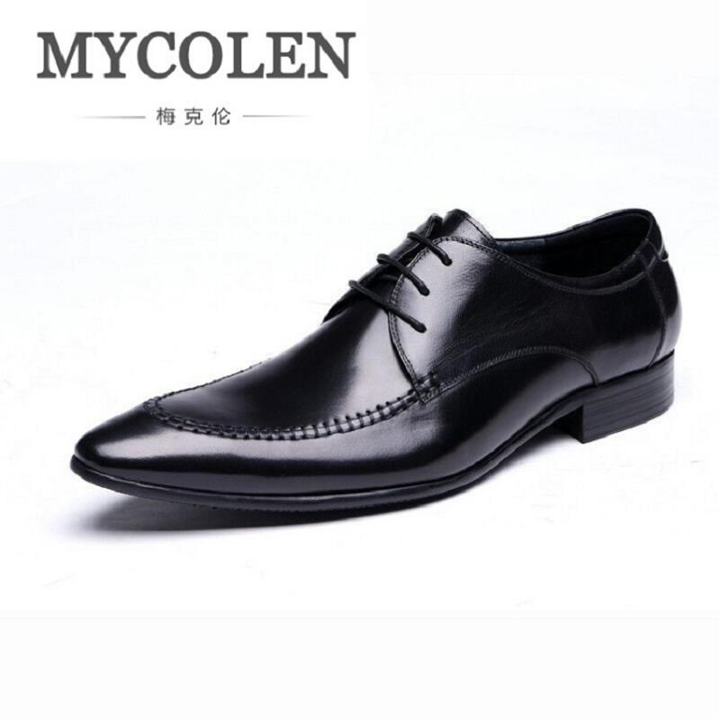 MYCOLEN New Light Luxury Brand Men Derby Shoes Business Genuine Leather Men's Dress Shoes British style Men Shoes for Wedding cbjsho brand men shoes 2017 new genuine leather moccasins comfortable men loafers luxury men s flats men casual shoes