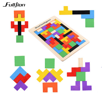 Fulljion Children Wooden Tangram Brain Teaser Tetris Puzzle Toys Learning Education Geometric Shape Jigsaw Game Puzzle kids Toy  juguetes para niño