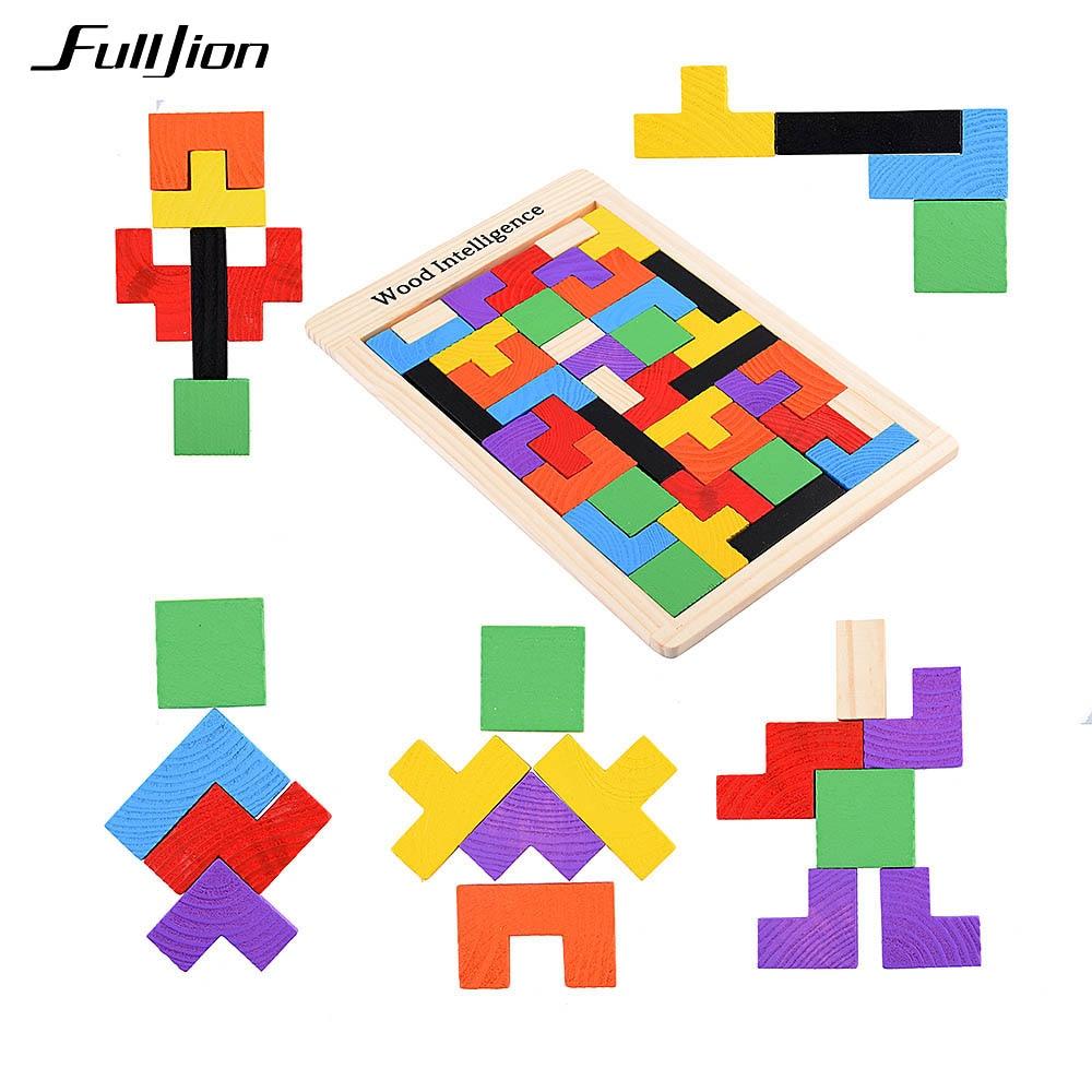 Fulljion Children Wooden Tangram Brain Teaser Tetris Puzzle s