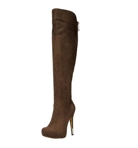 Woman spring and autumn brown flock high heel long boots Ladies round toe paltform super high thin heel over-the-knee long boots nikove 2018 women boots western style high heel over the knee boots round toe spring and autumn fashion ladies boots size 34 39