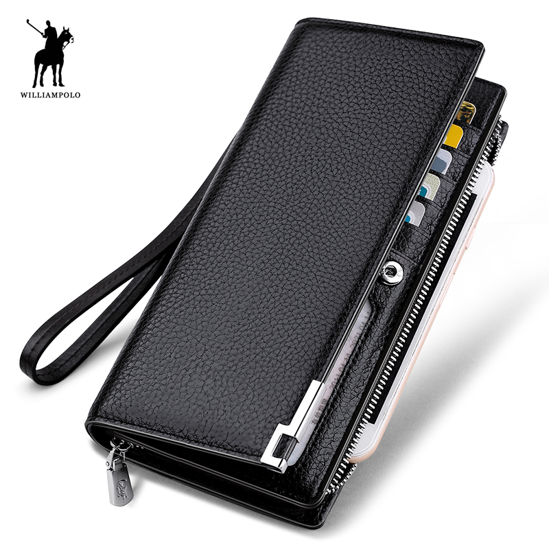 WILLIAMPOLO 2017 Fashion Long Design Genuine Cow Leather Wallet Man Metal Corner Phone Wallet Luxury Wallet Black #129