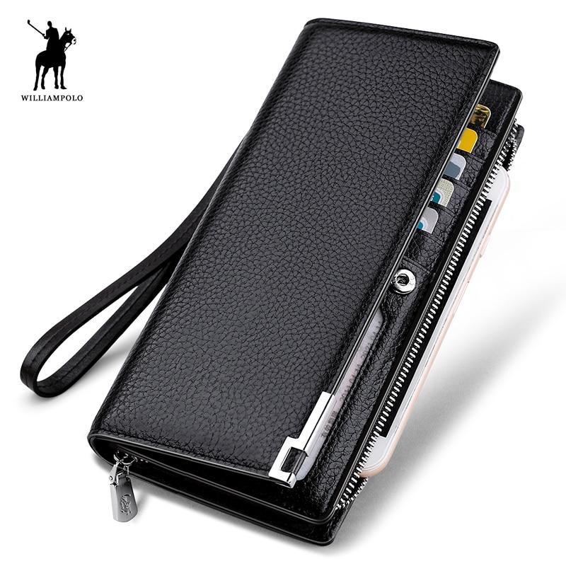 WILLIAMPOLO Moda Diseño Largo Cartera de Cuero de Vaca Genuina Hombre Metal Corner Phone Wallet Carpeta de Lujo Negro # 129
