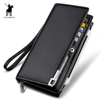WILLIAMPOLO Fashion Long Design Genuine Cow Leather Wallet Man Metal Corner Phone Wallet Luxury Wallet Black #129