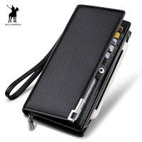 WILLIAMPOLO Fashion Long Design Genuine Cow Leather Wallet Man Metal Corner Phone Wallet Luxury Wallet Black #129