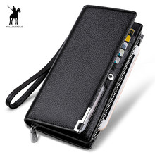 WILLIAMPOLO Fashion Long Design Genuine Cow Leather Wallet Man Metal Corner Phone Wallet Luxury Wallet Black #129(China)