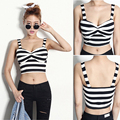 Womens Tank Top Bralet Black & White Straped Camis Neck Cropped Top Striped Bustier Summer Blouse Bra