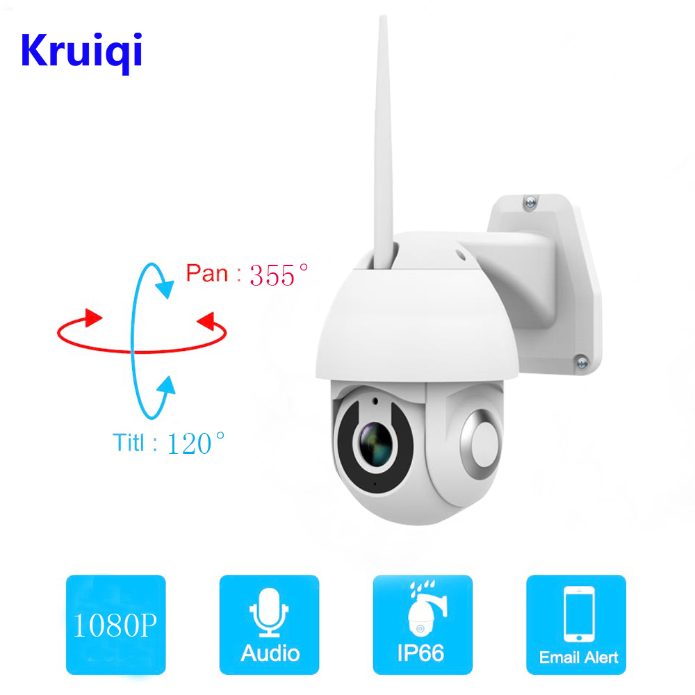 Kruiqi 1080P PTZ IP Camera Outdoor Speed Dome Wireless Wifi Security Camera Pan Tilt  Zoom IR Network CCTV Surveillance 1080P