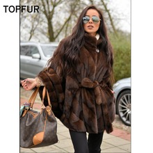 TOPFUR 2019 New Fashion Loose Winter Female Coat Real Fur For Women Natural Mink Outerwear & Coats With Belt Jackets