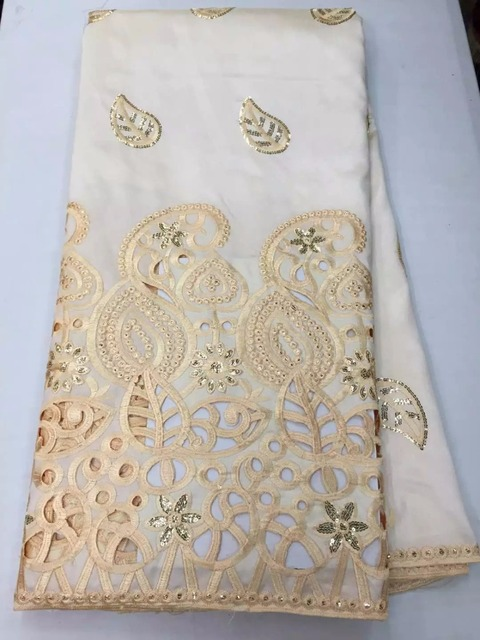 (5yards/lot) White 2015 Fashion African Lace Fabrics High Quality 5 yards Embroidery George Lace Cloth In Stock (lj)