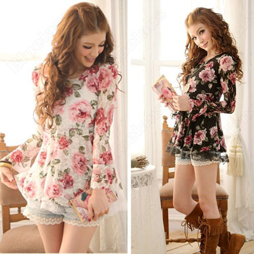 New Fashion Summer Long Sleeve Tops T Shirts Floral Ladies Lace ...