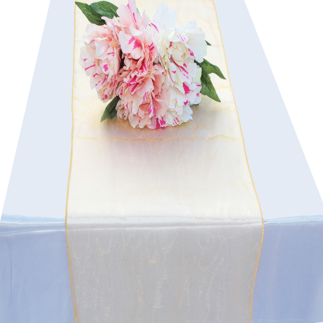 10pcs Gold Soft Sheer Fabric Crystal Organza Table Runner Chair Bows Swag  For Wedding Party Banquet