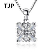 TJP Popular Ice Crystal Square Pendant Necklace For Women Wedding Latest 925 Silver Choker Jewelry Girl Lady Birthday