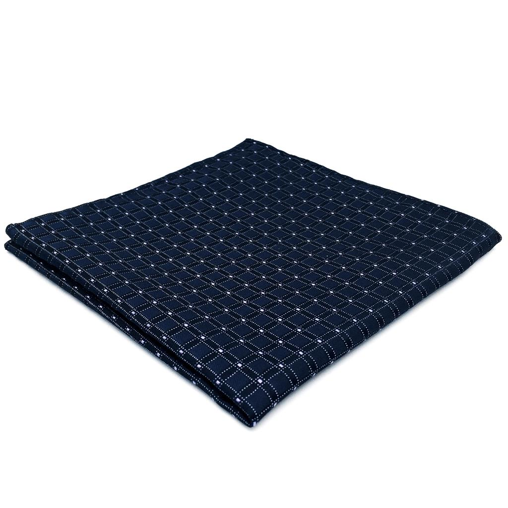 FH22 Navy Checkes Mens Pocket Square Business Groom Handkerchief Classic Hankies