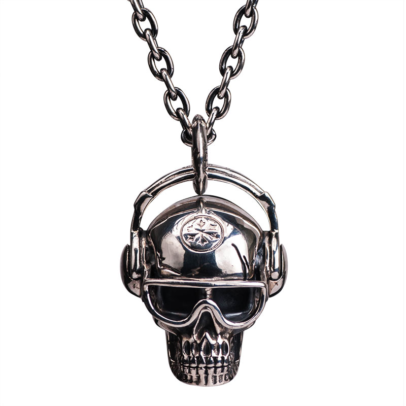 Skull headphones 925 sterling silver pendant  Hip-hop necklace for  Men High quality Jewllry