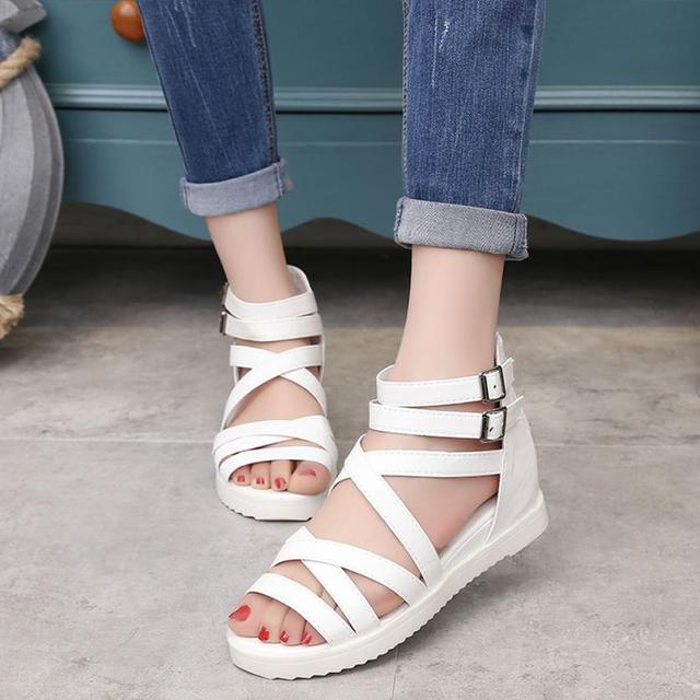 c53a7f7d6 mokingtop Women Flat Shoes Women s Summer Sandals Shoes Peep-toe Low Shoes  Roman Sandals Ladies Flip Flops