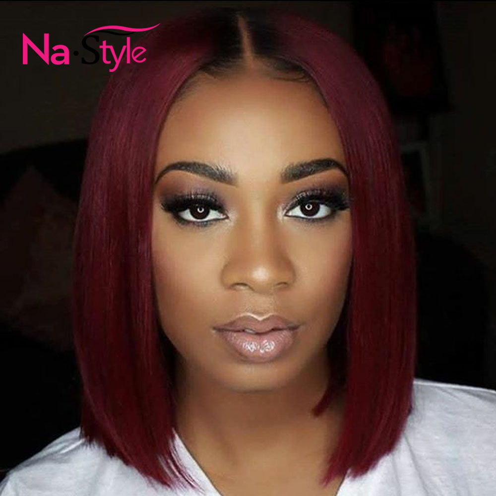 1b 99J Lace Front Wigs For Women 13 6 Deep Part Burgundy Lace Front Human Hair