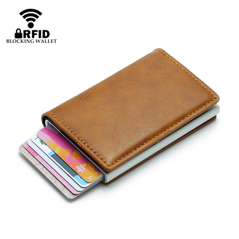 Fashion RFID Protection Automatical Pop Up Metal ID Credit Card Holder Card Case Money Cash Clip Mini Wallet Card Protector