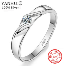YANHUI 100% Original Charm Silver Rings For Women Men Bijoux Zirconia Engagement Wedding Jewelry Couple Rings For Lovers JAR013 недорого