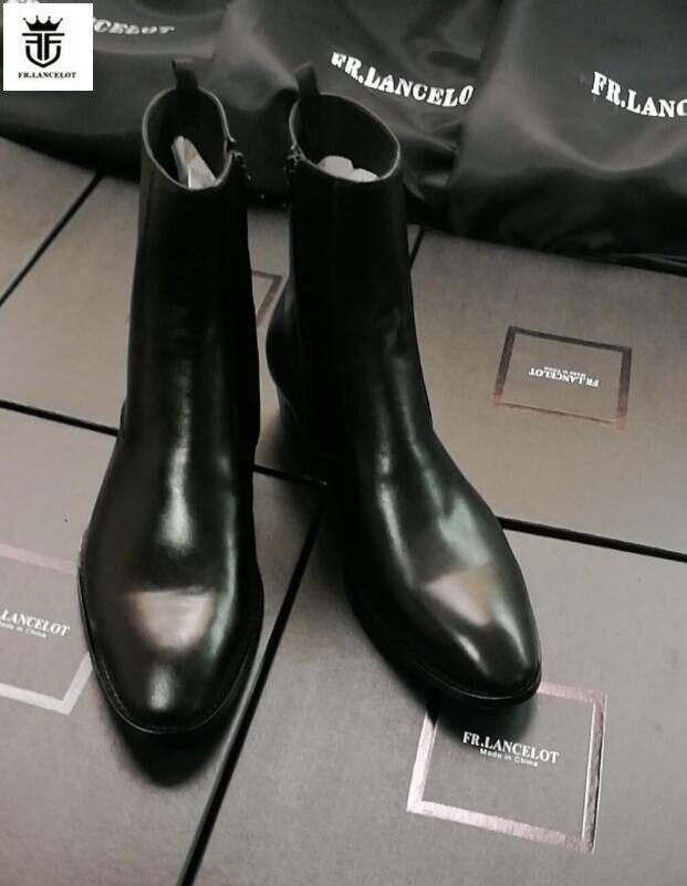FR. LANCELOT 2019 noir en cuir hommes chaussons En Cuir Véritable bottines chelsea sip up bottines Hommes de Mode Printemps Automne Bottes