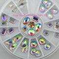 36 PCS 3D Nail Art Glitter Pedrinhas Roda Decoração de Unhas Ferramenta de Design Branco AB