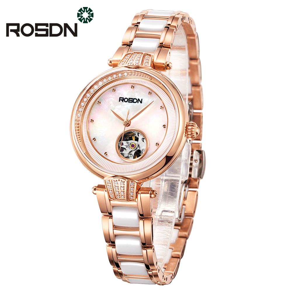 ROSDN Luxury Women Automatic Mechanical Watch Gift Set Women's wrist watch Fine Fashion Crystal Ladies Watches Ceramic Bracelet