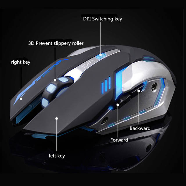 Rechargeable Wireless Gaming Mouse 7 color Backlight 5