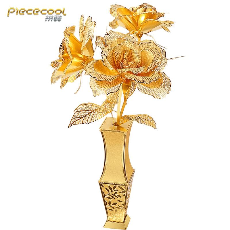 Piececool 3D Metal Puzzle Golden Rose Flower Model DIY 3D Laser Cut Assemble Jigsaw Toys Desktop Decoration GIFT For Children