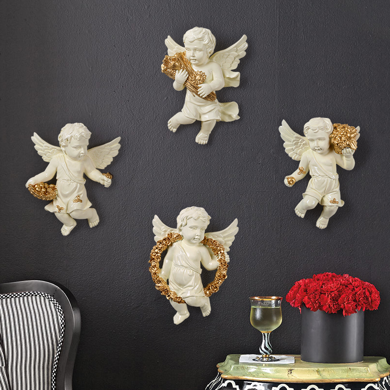 Resin Angel Figurine Wall stickers home decor living room in wall for kids rooms Bedroom 3d sticker hall TV Back