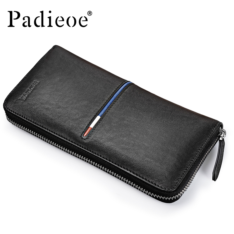 Padieoe 2017 Fashion Men Purse Genuine Leather Long Wallets for Male Leather Cell Phone Clutch Bag Casual Mens Small Handbag