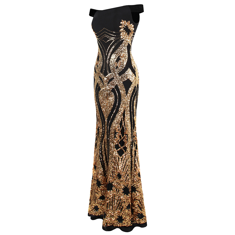 Angel Fashions Formal Evening Dresses Sparkling Gold Art Deco Sequin