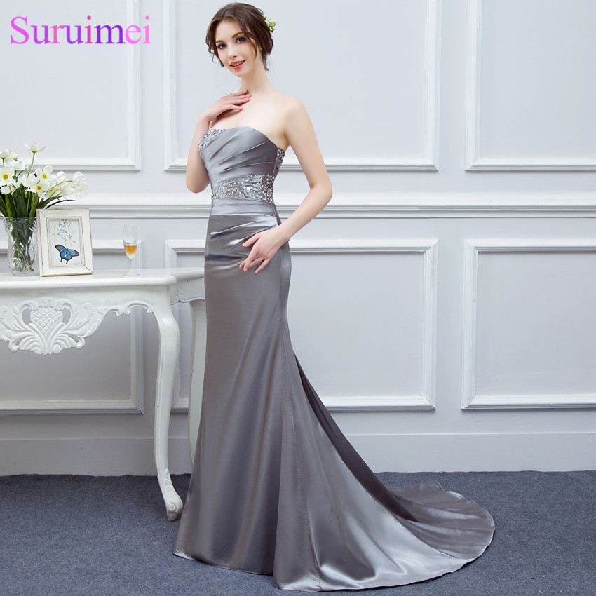 Gray   Bridesmaid     Dresses   Satin Mermaid Beaded Cheap Brides Maid   Dress   Under 100