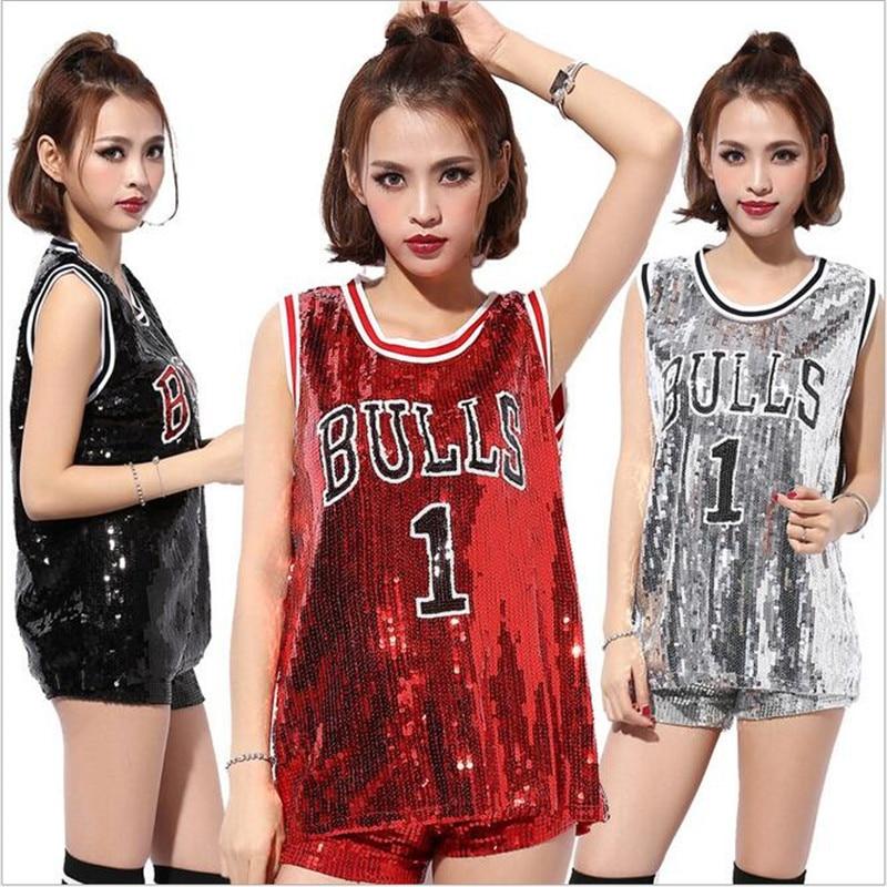 New Sequins DS Tops Costumes For Women Girls Singers Hip-hop Dance Jazz Stage Wear Womens Bulls 1 Paillette T-shirt Wholesale シャツ ワンピ ロング 半袖