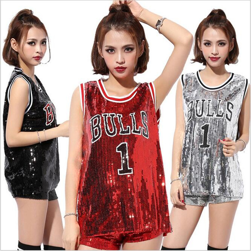New Sequins DS Tops Costumes For Women Girls Singers Hip-hop Dance Jazz Stage Wear Womens Bulls 1 Paillette T-shirt Wholesale