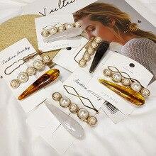 New fashion marbled pearl hairpin romantic temperament bangs clip hair accessories Headwear