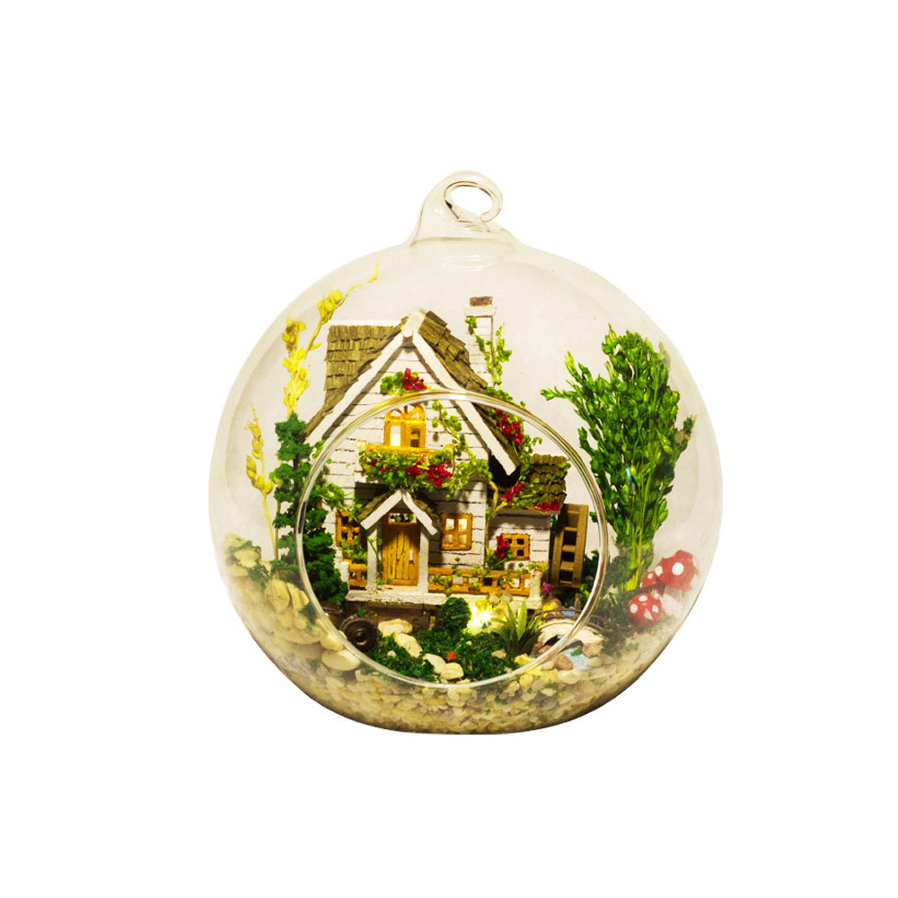 DIY House Miniature Kit Dollhouse Creative Room with Furniture LED Glass Cover Voice Control Switch Christmas Romantic Kids Gift
