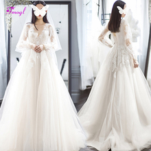 fsuzwel Long Sleeve A-Line Wedding Dress 2019 Sweep Train