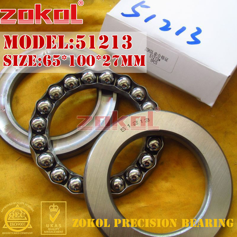 ZOKOL bearing 51213 Thrust Ball Bearing  8213 65*100*27mm zokol bearing 51411 thrust ball bearing 8411 55 120 48mm