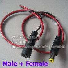 2.1x5.5 mm PLug DC Power Pigtail for Security Camera CCTV DVR ,red+ Black color,5 pair (5 Male/ 5 Female),Free shipping