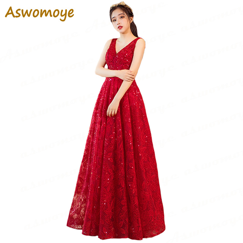 Aswomoye Elegant Long   Evening     Dress   2018 New Appliques Crystal Sequined Prom Party   Dress   Back Lace Up A-Line robe de soiree