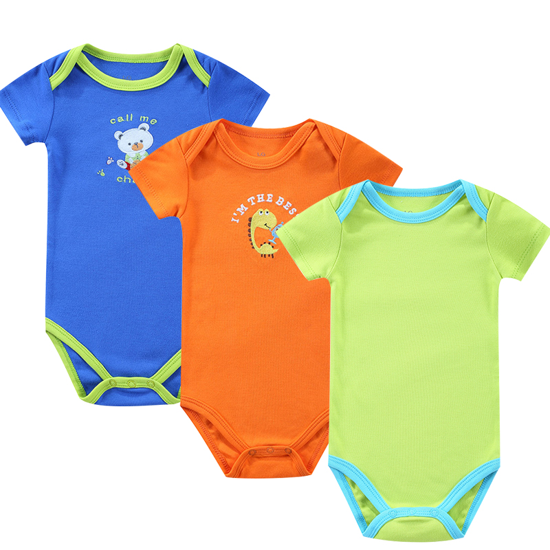 3 Pieces/Set New Baby Rompers Newborn Solid Fashion Summer Baby Fille Boys Short Sleeve Baby Toddler Jumpers Infant Clothing